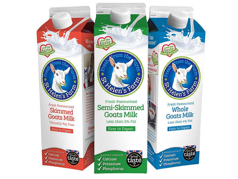 St Helen's Farm cartons of skimmed, semi-skimmed and whole milk