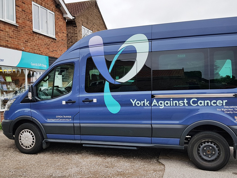 York Against Cancer branded minibus